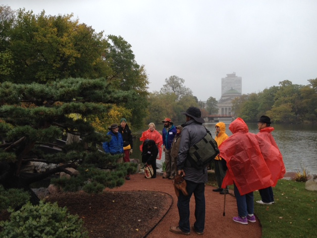 We began the workshop discussing the focal pine. It was a little drizzly but no one seemed to mind!